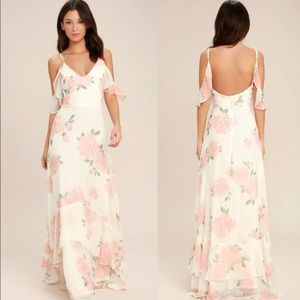 Lulus - take You There Ivory Blush Floral Maxi
